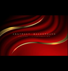 abstract dark red fabric wave gold line curve vector image
