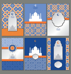 Arabicislammuslim pattern templatesbanners vector