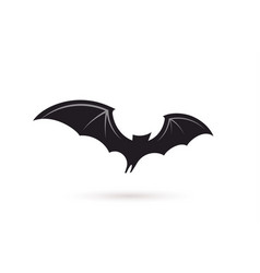 bat in flight wide wings black silhouette bat vector image