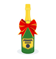 bottle of champagne with bow vector image