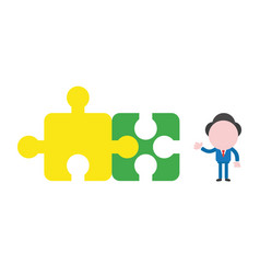businessman character with two connected jigsaw vector image