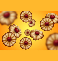 Buttery cookies with red jam orange and yellow vector