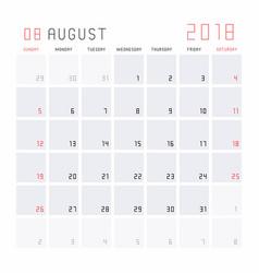 Calendar august 2018 vector