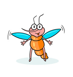 Cartoon character mosquito with a black outline vector
