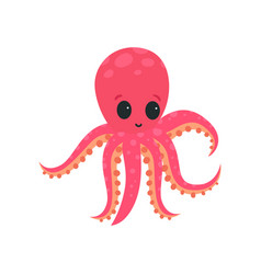 cartoon pink octopus with big shiny eyes soft vector image