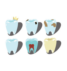 Cartoon set teeth a collection patients and vector