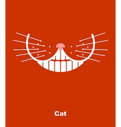 Cat smile on a red background teeth and wh vector