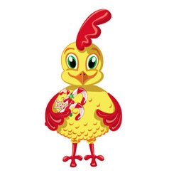 Cheerful Cockerel with candy vector