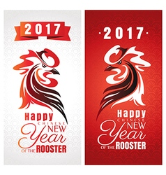 Chinese new year greeting cards with rooster vector image