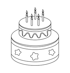 Chocolate cake with stars icon in outline style vector