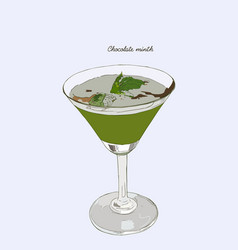 chocolate mint cocktail drinks hand drawn vector image