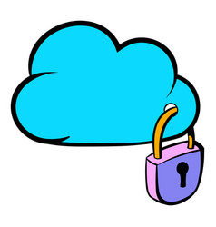 cloud security icon cartoon vector image