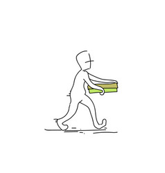 Courier man carry pizza box food delivery service vector