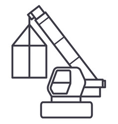 Crane cargo logistics wrecker line icon vector