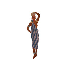Cute african aborigine woman with ceramic pot on vector
