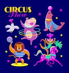 Cute circus artists in cartoon style vector