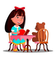 cute girl reading a book a soft toy bear vector image