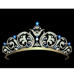 Diamond tiara with sapphires vector