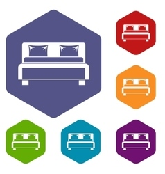 Double bed icons set vector