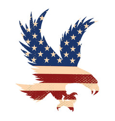 eagle silhouette on usa flag background vector image