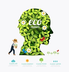 Ecology infographic green head shape with farmer vector image