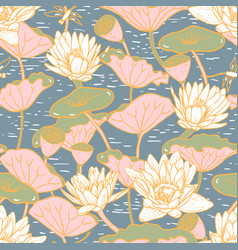 Elegant water lilies nymphaea seamless floral vector