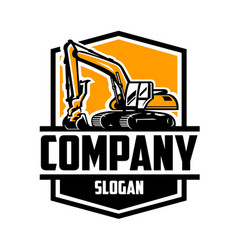 excavating land clearing constructing logo vector image