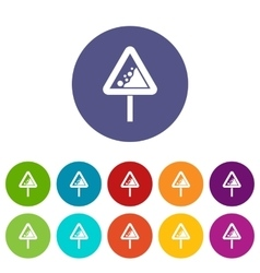 Falling rocks warning traffic sign set icons vector image
