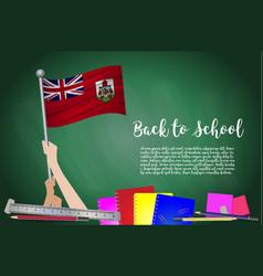flag of bermuda on black chalkboard background vector image