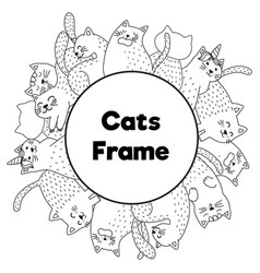 Frame with funny cats in coloring page style vector