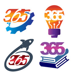 Gear bulb rocket book 365 infinity logo icon vector