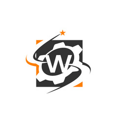 Gear solution logo letter w vector