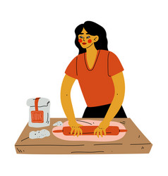 Girl rolling dough on table with rolling pin vector