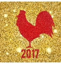 Glittering Red Rooster on golden glittering vector