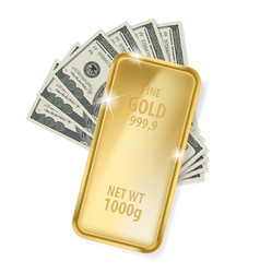 Gold bar and dollars on white background for vector
