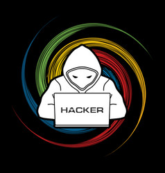 Hacker working on laptop vector