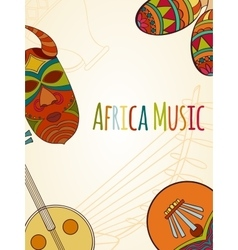 Hand-drawn africa music card vector
