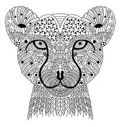 Hand drawn cheetah head in entangle style vector