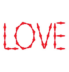 hand drawn inscription love red letters on a vector image