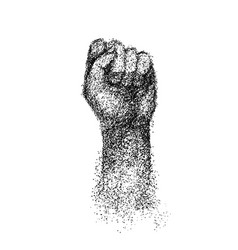 Hand elbow raised up clenched fist engraving vector