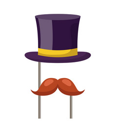 hat and mustache carnival costume party vector image