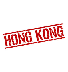 Hong kong red square stamp vector