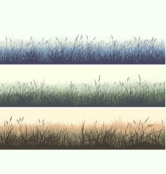 Horizontal color banners meadow with high grass vector