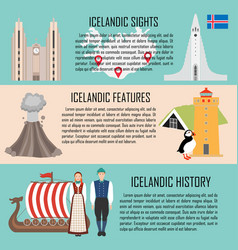 iceland banner set with icelandic sights features vector image