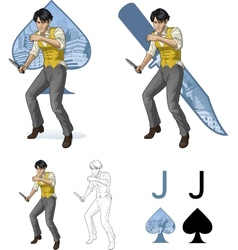 Jack of spades asian brawling man Mafia card set vector image