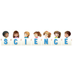 Kids holding word for science vector