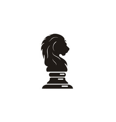 lion king knight chess silhouette logo vector image