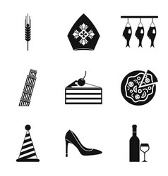 liquid icons set simple style vector image