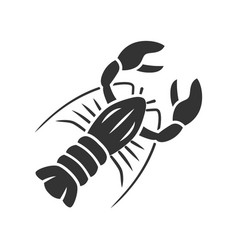 Lobster glyph icon seafood restaurant menu vector