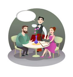 loving couple is having dinner in a restaurant vector image